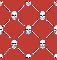 skulls and bones seamless pattern vector image
