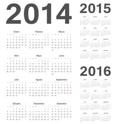Spanish 2014 2015 2016 year calendars vector image vector image