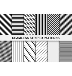 striped seamless patterns collection vector image