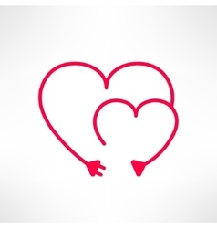 Two hearts made from electric line with vector