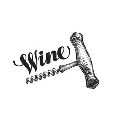 Wine corkscrew Sketch vector image vector image