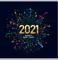 2021 happy new year background with confetti burst vector