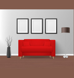 3d realistic render red sofa couch with vector image