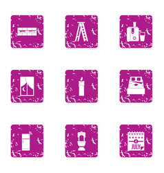 America rest day icons set grunge style vector