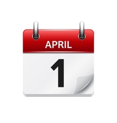 April 1 flat daily calendar icon Date and vector