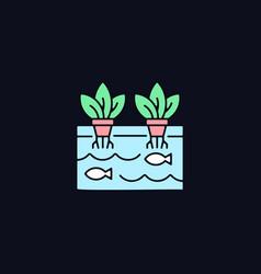 Aquaponics rgb color icon for dark theme vector
