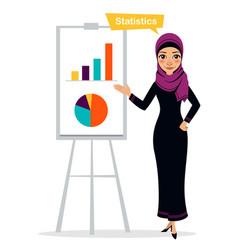 Arab woman shows profit growth concept statistics vector