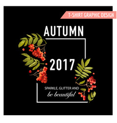 autumn floral graphic with rowanberry vector image