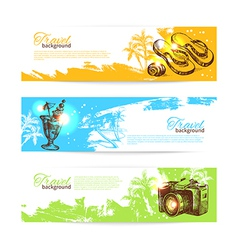 Banner set of travel colorful tropical splash vector