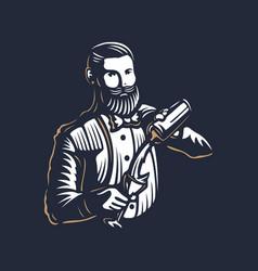 bearded barmen barkeeper or bartender in work vector image