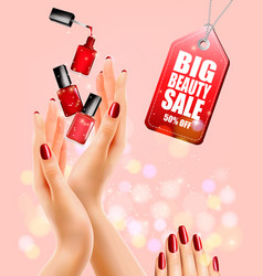 beauty flyer with manicured female hands and nail vector image