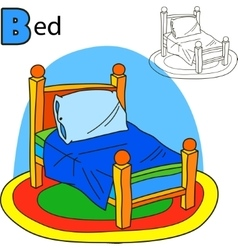 Bed Coloring book page Cartoon vector image
