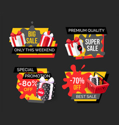big sale only this weekend price reduction set vector image