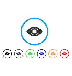 Bionic eye lens rounded icon vector