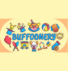 buffoonery concept banner cartoon style vector image