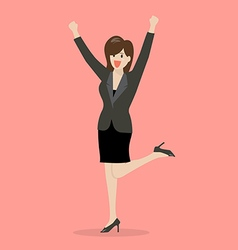 Business woman celebrating success vector image vector image