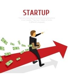 businessman on arrow chart vector image