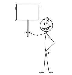 Cartoon happy smiling man holding empty sign vector
