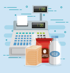 Cash register with groceries vector