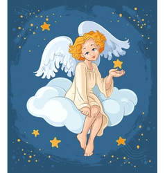 Christmas angel sitting on a cloud vector