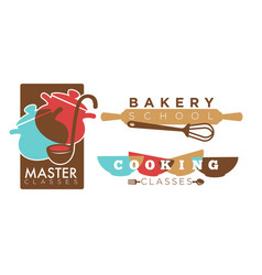 Cooking or bakery chef school icons vector