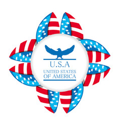 cute eagle with american symbol emblem vector image