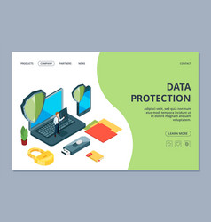 data protection landing page isometric mobile vector image