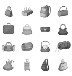 different bagage icons set monochrome vector image