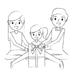 family parents and daughter sitting with gift box vector image