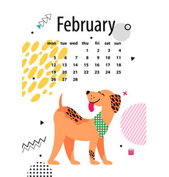 february page of calendar vector image