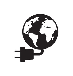 Flat icon in black and white earth power vector