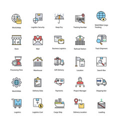 Flat icons set of logistics delivery vector
