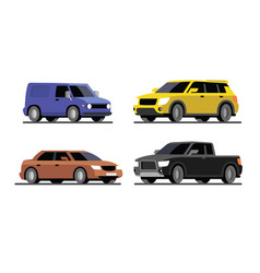 four different cars van pickup sedan suv vector image