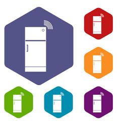 fridge icons set hexagon vector image