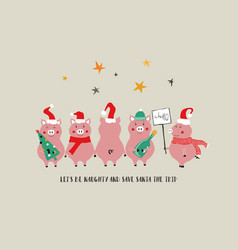 Funny christmas card with pigs vector