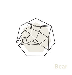 geometric head bear with side view vector image vector image