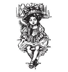 girl reading child vintage engraving vector image