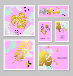 Golden glitter tropical cards set memphis vector