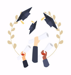 graduation cap education flat design modern vector image
