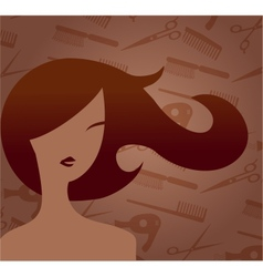 Hair accessories and woman with haircut vector image