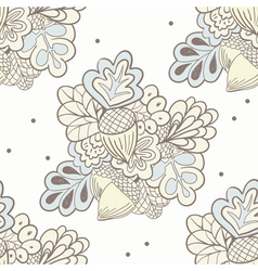 Hand drawing oak elements seamless pattern vector image
