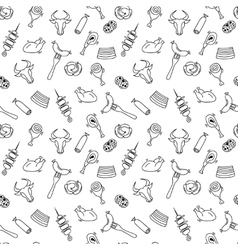 Hand drawn artistic meat seamless pattern for vector