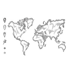 Hand drawn rough sketch world map with doodle vector