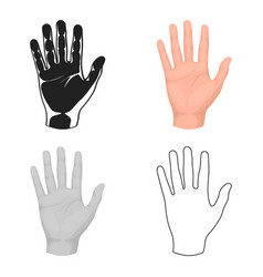 hand icon in cartoon style isolated on white vector image