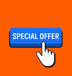 Hand mouse cursor clicks the special offer button vector