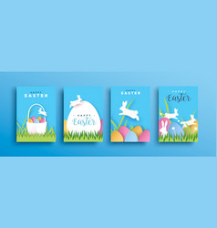 happy easter cutout rabbit egg spring card set vector image