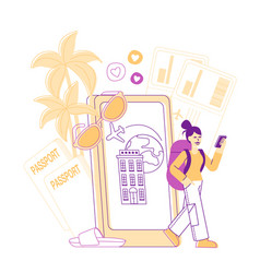 Happy woman backpacker booking tickets and hotel vector