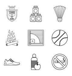 Healthy habit icons set outline style vector