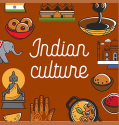 Indian culture promo poster with national symbols vector