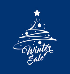 inscription winter sale with christmas tree vector image